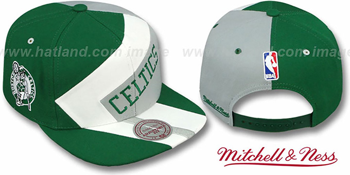 Celtics '1-ON-1 SNAPBACK' Green-White-Grey Hat by Mitchell & Ness : pictured without stickers that these products are shipped with