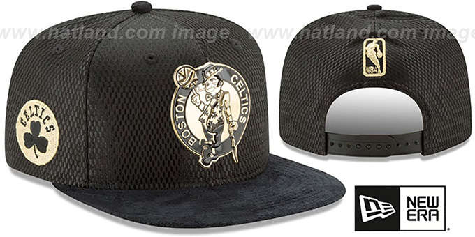 Celtics '2017 NBA ONCOURT SNAPBACK' Black-Gold Hat by New Era : pictured without stickers that these products are shipped with