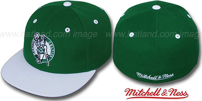 Celtics '2T CLASSIC THROWBACK' Green-White Fitted Hat by Mitchell & Ness : pictured without stickers that these products are shipped with