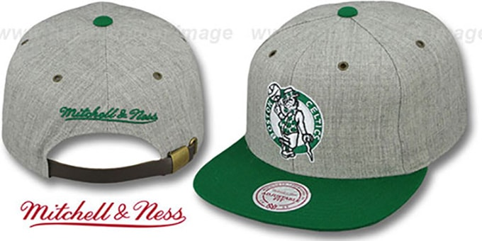 Celtics '2T-HEATHER STRAPBACK' Hat Mitchell & Ness : pictured without stickers that these products are shipped with