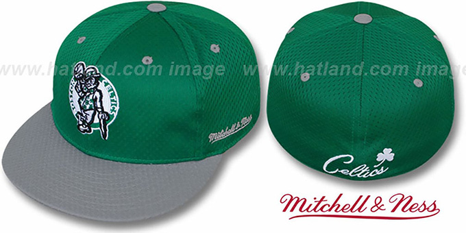 Celtics '2T MAN BP-MESH' Green-Grey Fitted Hat by Mitchell & Ness : pictured without stickers that these products are shipped with