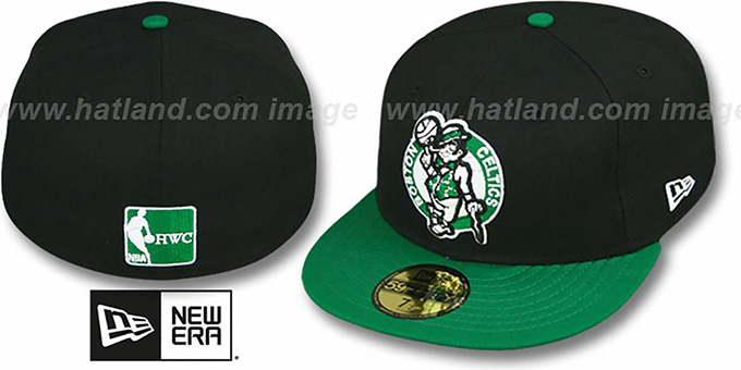 Celtics '2T TEAM-BASIC' Black-Green Fitted Hat by New Era : pictured without stickers that these products are shipped with
