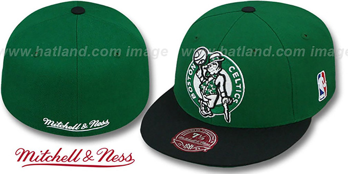 Celtics '2T XL-LOGO' Green-Black Fitted Hat by Mitchell & Ness