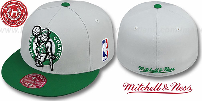 Celtics '2T XL-LOGO' Grey-Green Fitted Hat by Mitchell & Ness : pictured without stickers that these products are shipped with