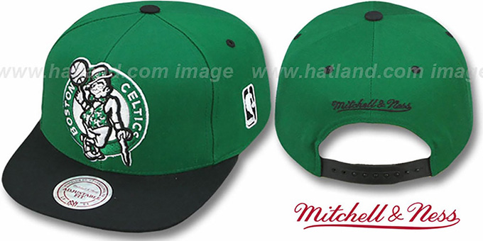 Celtics '2T XL-LOGO SNAPBACK' Green-Black Adjustable Hat by Mitchell and Ness : pictured without stickers that these products are shipped with
