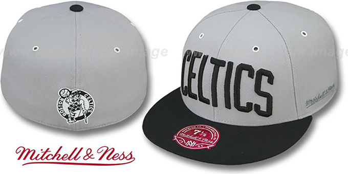 Celtics '2T XL-WORDMARK' Grey-Black Fitted Hat by Mitchell & Ness : pictured without stickers that these products are shipped with