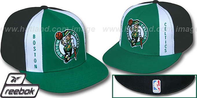 Celtics 'AJD PINWHEEL' Green-Black Fitted Hat by Reebok : pictured without stickers that these products are shipped with