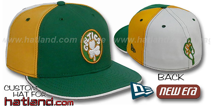 Celtics BACK 'INSIDER PINWHEEL' Green-Gold-White Fitted Hat : pictured without stickers that these products are shipped with