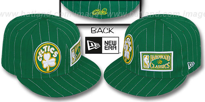 Celtics 'BIG-ONE DOUBLE WHAMMY' Green-White Fitted Hat : pictured without stickers that these products are shipped with