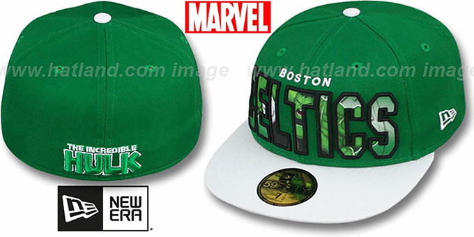 Celtics 'BIG WORD ACTION' Green-White Fitted Hat by New Era : pictured without stickers that these products are shipped with