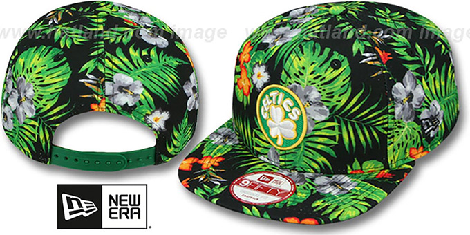 Celtics 'BLOOM SNAPBACK' Hat by New Era : pictured without stickers that these products are shipped with