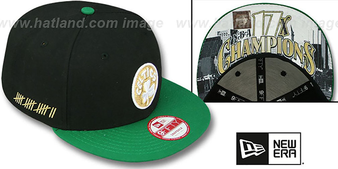 Celtics 'CHAMPS-HASH SNAPBACK' Black-Green Hat by New Era : pictured without stickers that these products are shipped with
