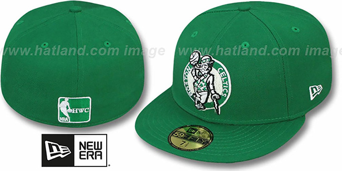 Celtics 'CHENILLE APPLIQUE' Green Fitted Hat by New Era : pictured without stickers that these products are shipped with
