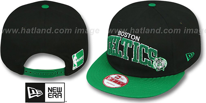 Celtics 'CHENILLE-ARCH SNAPBACK' Black-Green Hat by New Era : pictured without stickers that these products are shipped with