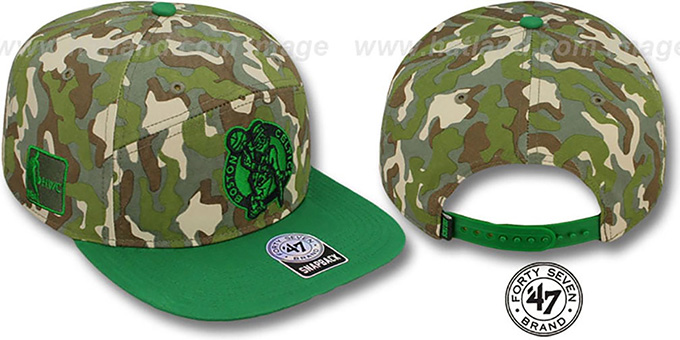 Celtics 'CHENY CAMPER STRAPBACK' Hat by Twins 47 Brand : pictured without stickers that these products are shipped with