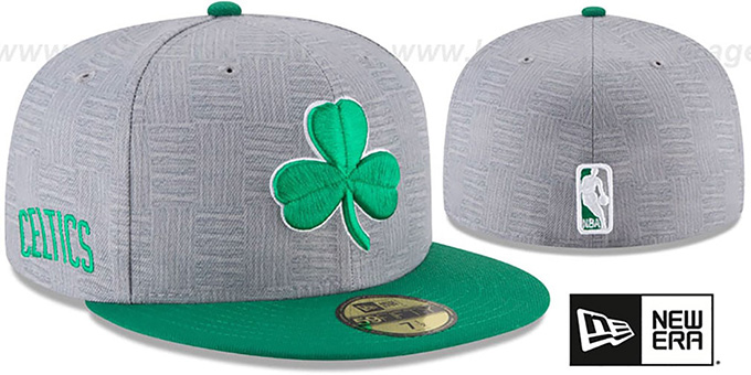 Celtics 'CITY-SERIES' Grey-Green Fitted Hat by New Era : pictured without stickers that these products are shipped with