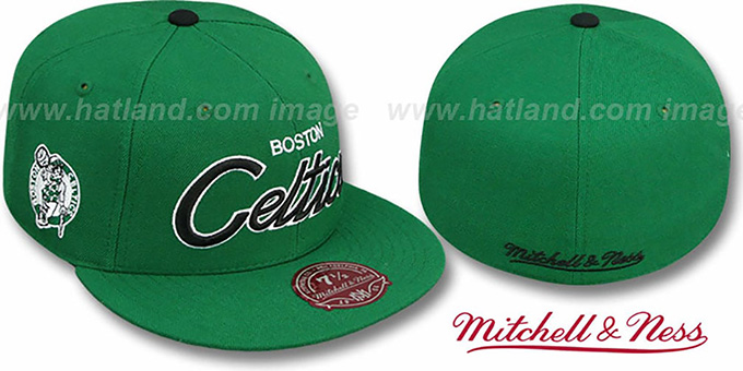 Celtics 'CLASSIC-SCRIPT' Green Fitted Hat by Mitchell & Ness : pictured without stickers that these products are shipped with