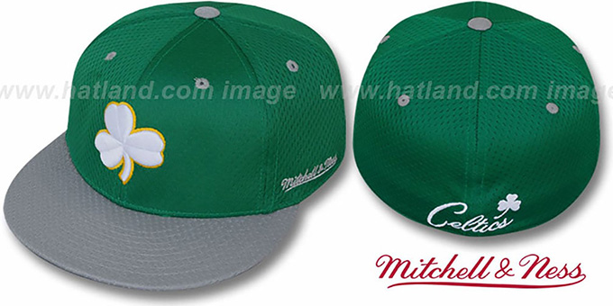 Celtics 'CLOVER ALT 2T BP-MESH' Green-Grey Fitted Hat by Mitchell & Ness : pictured without stickers that these products are shipped with