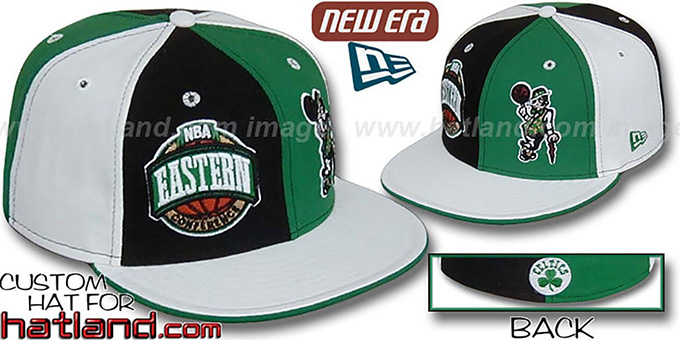 Celtics CONFERENCE 'DOUBLE WHAMMY' Fitted Hat by New Era : pictured without stickers that these products are shipped with