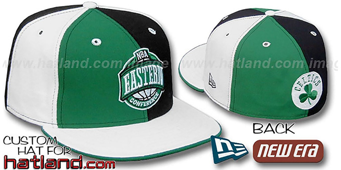 Celtics CONFERENCE 'PINWHEEL' Kelly-Black-White Fitted Hat : pictured without stickers that these products are shipped with