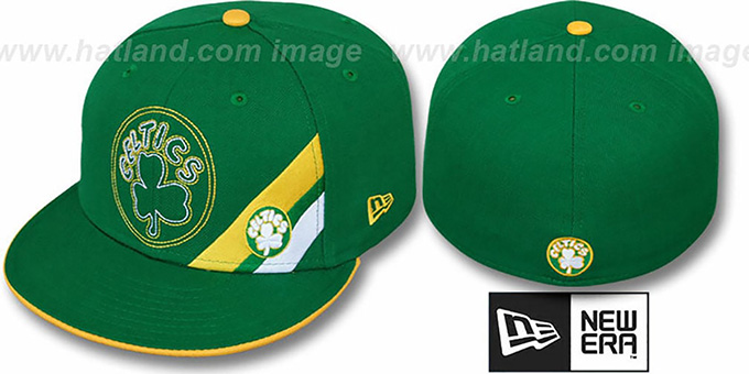 Celtics 'CORNER SLICE' Green Fitted Hat by New Era : pictured without stickers that these products are shipped with