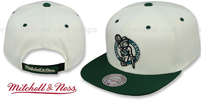 Celtics 'CREAMTOP STRAPBACK' Hat by Mitchell & Ness : pictured without stickers that these products are shipped with