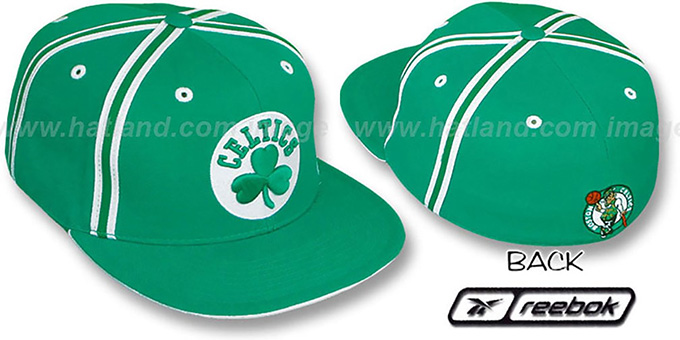 Celtics 'DOUBLE DRIBBLE' Fitted Hat by Reebok - kelly : pictured without stickers that these products are shipped with