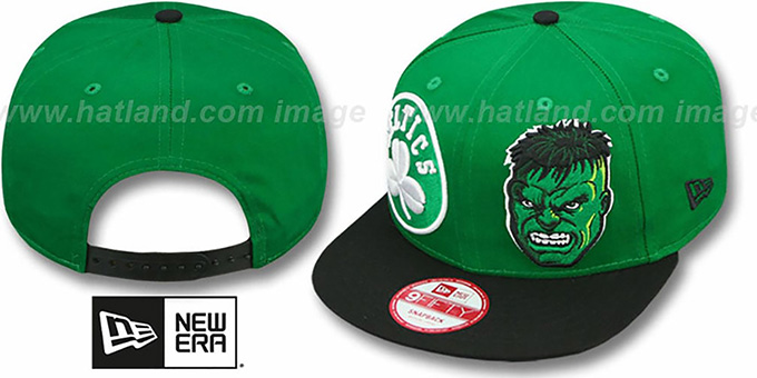 Celtics 'DOUBLE-WHAM THE HULK SNAPBACK' Hat by New Era : pictured without stickers that these products are shipped with