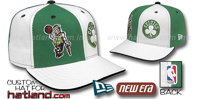 Celtics 'DOUBLE WHAMMY' Kelly-White Fitted Hat : pictured without stickers that these products are shipped with