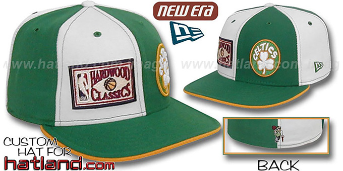 Celtics DW HARDWOOD 'OLD-SCHOOL' White-Green Fitted Hat : pictured without stickers that these products are shipped with