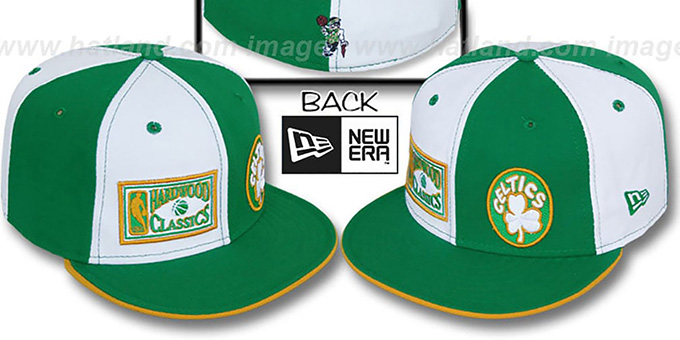Celtics 'DW HW-OLD SCHOOL' White-Green Fitted Hat : pictured without stickers that these products are shipped with