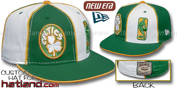 Celtics DW 'OLD-SCHOOL LOGOMAN' Green-White Fitted Hat : pictured without stickers that these products are shipped with
