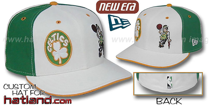 Celtics DW 'THEN and NOW' White-Green Fitted Hat : pictured without stickers that these products are shipped with