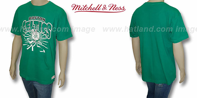 Celtics 'EARTHQUAKE' Green T-Shirt by Mitchell & Ness : pictured without stickers that these products are shipped with