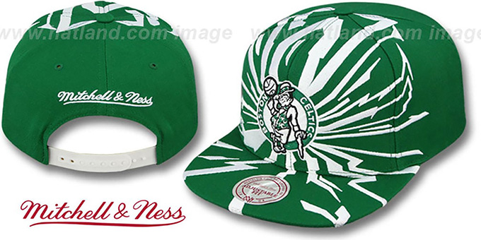 Celtics 'EARTHQUAKE SNAPBACK' Green Hat by Mitchell & Ness : pictured without stickers that these products are shipped with