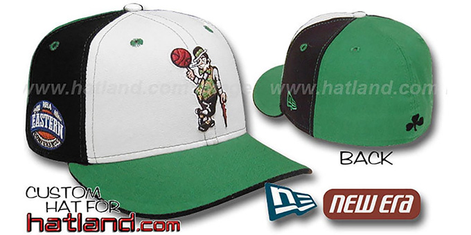 Celtics 'EC-PINWHEEL' White-Black-Kelly Fitted Hat by New Era