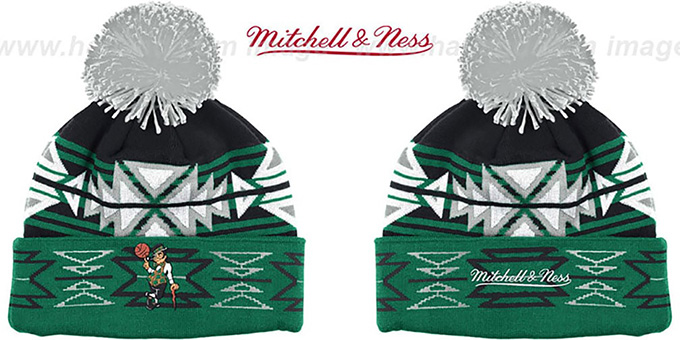 Celtics 'GEOTECH' Knit Beanie by Mitchell and Ness : pictured without stickers that these products are shipped with