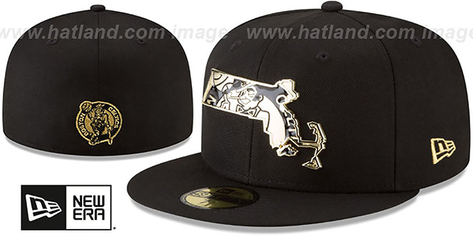 Celtics 'GOLD STATED METAL-BADGE' Black Fitted Hat by New Era