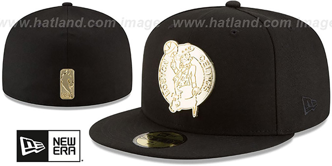 Celtics 'GOLDEN-BADGE' Black Fitted Hat by New Era : pictured without stickers that these products are shipped with
