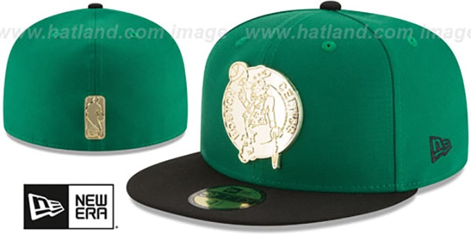 Celtics 'GOLDEN-BADGE' Green-Black Fitted Hat by New Era : pictured without stickers that these products are shipped with