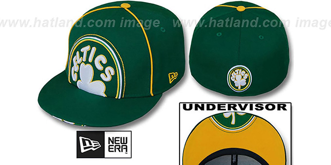 Celtics 'HARDWOOD BIG-UNDER' Kelly Fitted Hat by New Era : pictured without stickers that these products are shipped with