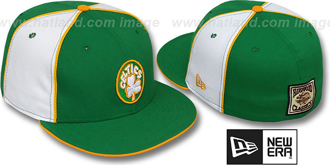 Celtics 'HARDWOOD PINWHEEL-2' Kelly-White Fitted Hat : pictured without stickers that these products are shipped with