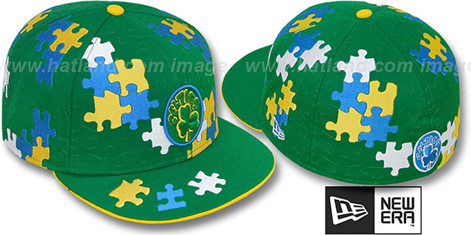 Celtics HARDWOOD 'PUZZLE' Green Fitted Hat by New Era : pictured without stickers that these products are shipped with