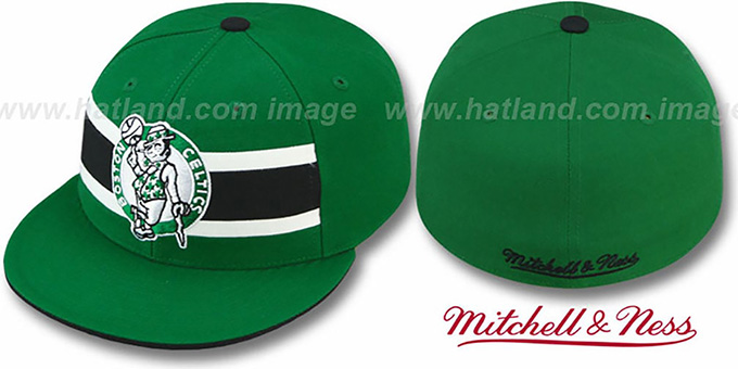 Celtics 'HARDWOOD TIMEOUT' Green Fitted Hat by Mitchell & Ness : pictured without stickers that these products are shipped with