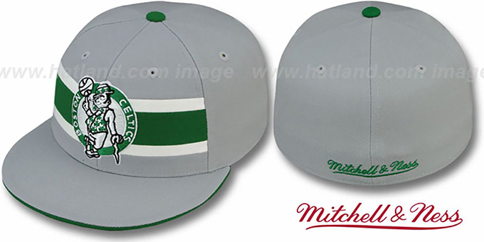 Celtics 'HARDWOOD TIMEOUT' Grey Fitted Hat by Mitchell & Ness : pictured without stickers that these products are shipped with