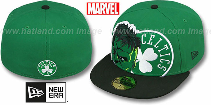Celtics 'HERO-HCL' Green-Black Fitted Hat by New Era : pictured without stickers that these products are shipped with