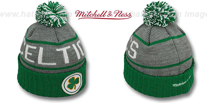 Celtics 'HIGH-5 CIRCLE BEANIE' Grey-Green by Mitchell and Ness