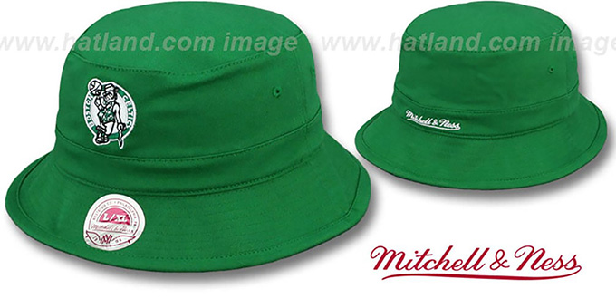 Celtics HW 'BASIC BUCKET' Green Hat by Mitchell and Ness : pictured without stickers that these products are shipped with