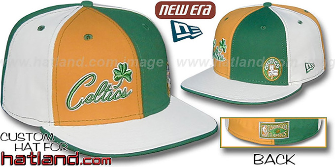 Celtics HW 'BIG-LITTLE' DW Gold-Kelly-White Fitted Hat : pictured without stickers that these products are shipped with