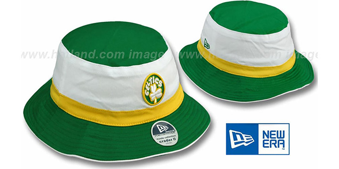 Celtics HW 'CRADER II' Bucket Hat by New Era : pictured without stickers that these products are shipped with